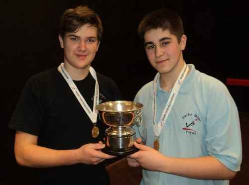 photo of Rob Whitehorn & Matt Blunden winning the U16 Doubles at WoE Schools 2013