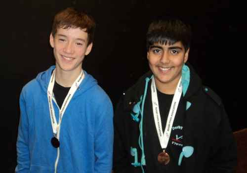 photo of John Halligan & Bally Singh winning U16 Doubles Plate at West of England Schools 2013