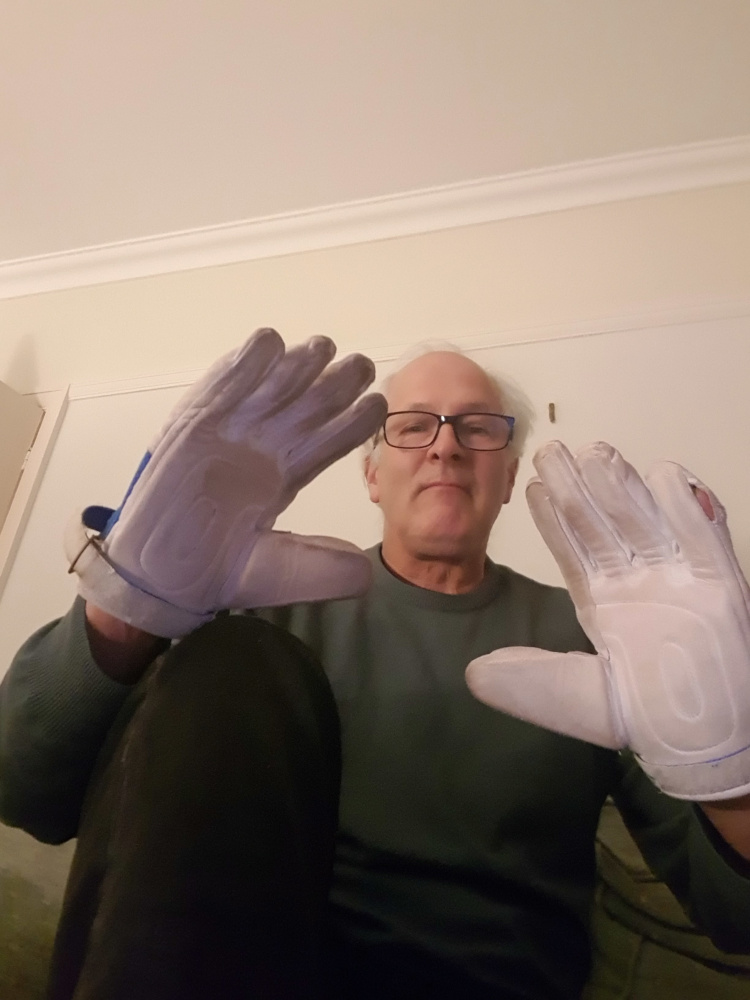 Stuart with gloves on