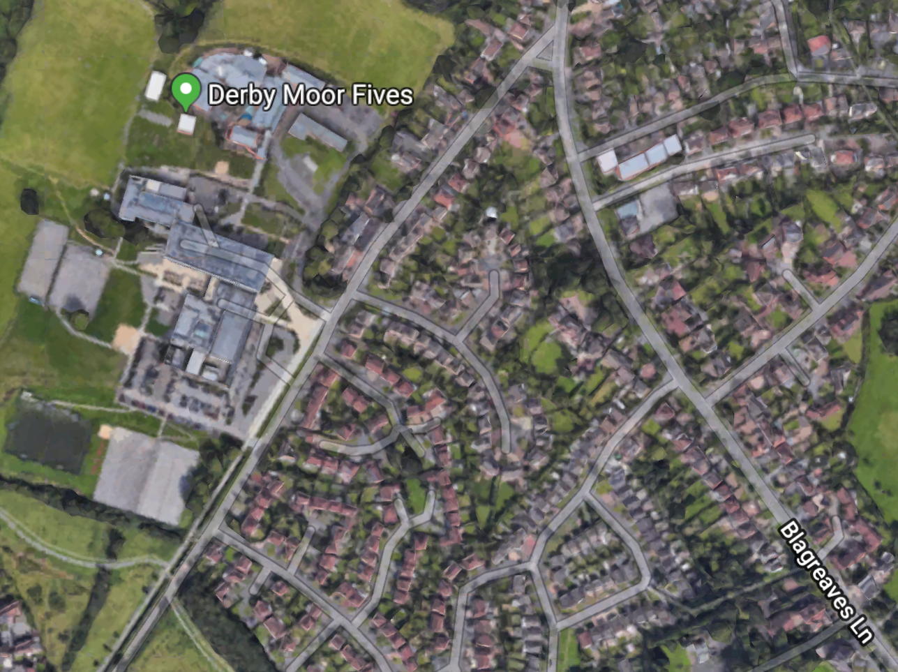 Google Map showing location of Fives Courts at Derby Moor Academy